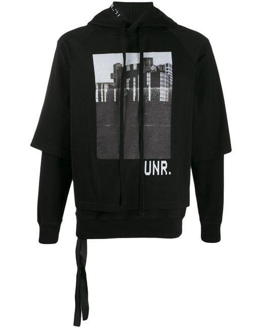 メンズ Unravel Project レイヤード ロゴ パーカー Black