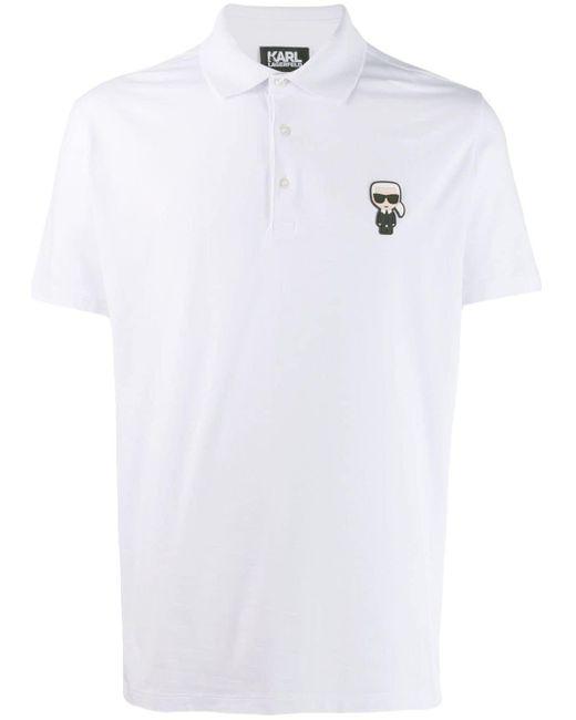 メンズ Karl Lagerfeld Ikonik パッチ ポロシャツ White