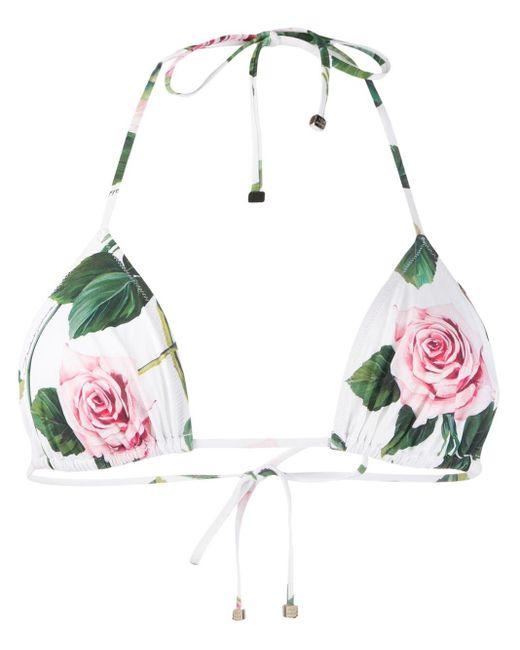 Dolce & Gabbana ローズ ビキニトップ White