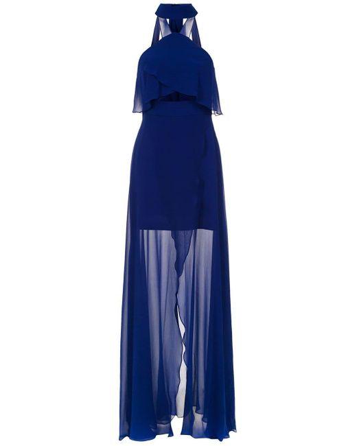 Tufi Duek Long Silk Dress Blue