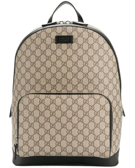 Gucci - Brown 'GG Supreme' Rucksack for Men - Lyst