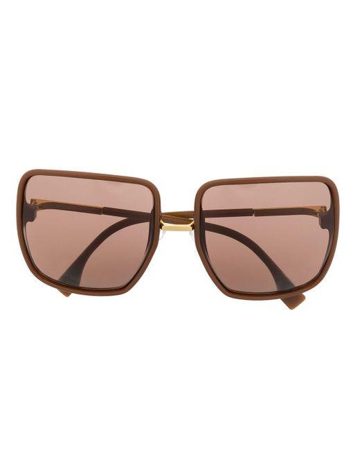 Солнцезащитные Очки В Массивной Квадратной Оправе Fendi, цвет: Brown