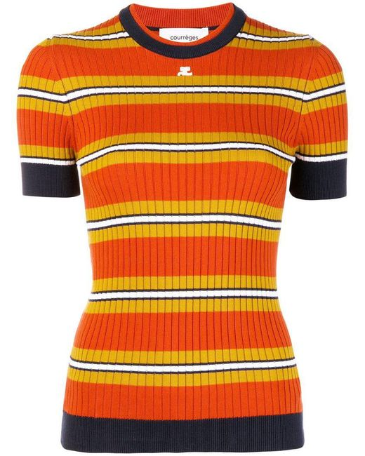 Courreges - Orange Top de canalé a rayas - Lyst