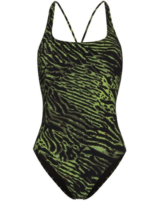 Ganni タイガープリント 水着 Green