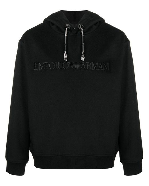 メンズ Emporio Armani ロゴ パーカー Black