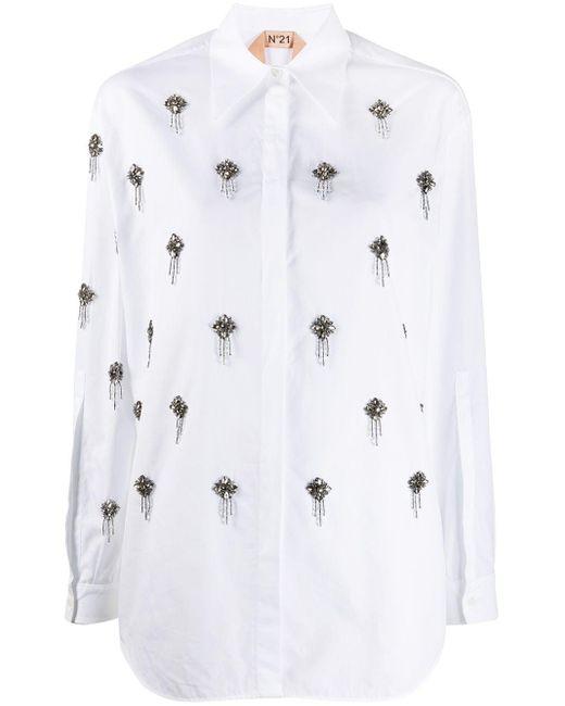 N°21 ビジューシャツ White