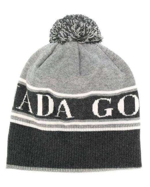 Canada Goose ロゴ ポンポン ニット帽 Gray