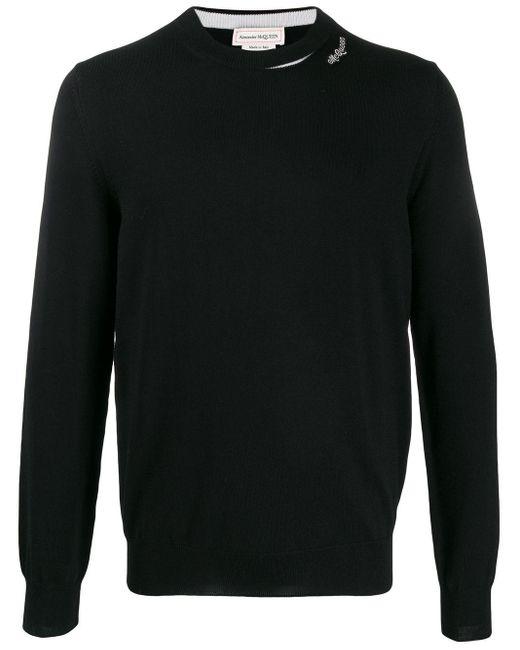 メンズ Alexander McQueen ロゴパッチ セーター Black