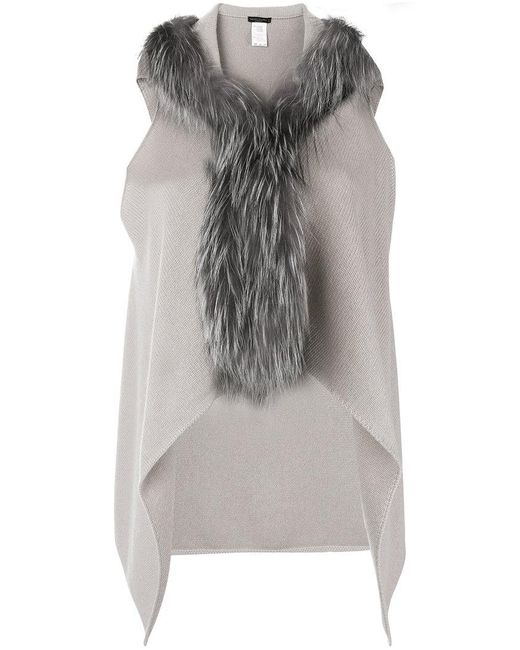Fabiana Filippi - Gray Fur Trimmed Knitted Vest - Lyst