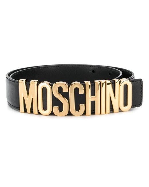 メンズ Moschino ロゴプレート ベルト Black