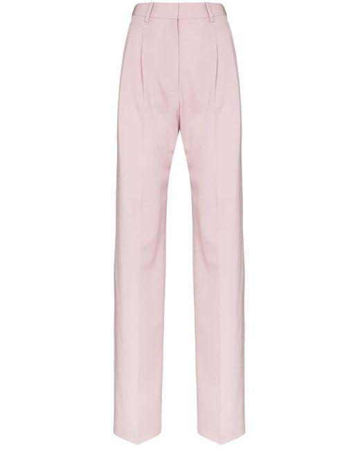 Stella McCartney Pantalones de vestir con pliegues de mujer de color rosa