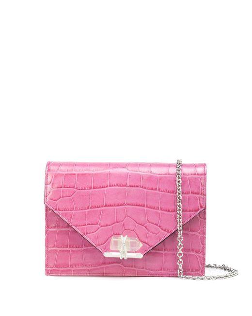 Marchesa Quartz Crystal レザークラッチバッグ Pink