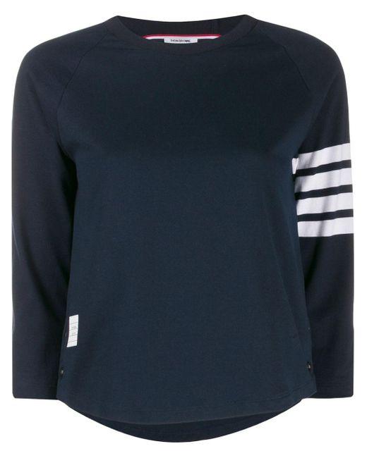 T-shirt con dettaglio a righe di Thom Browne in Blue