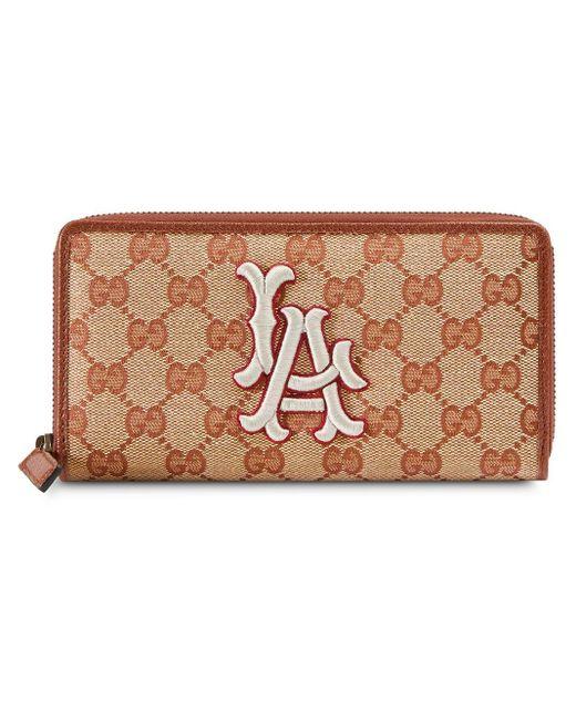Gucci Brown Original GG Zip Around Wallet With La Angels Patchtm