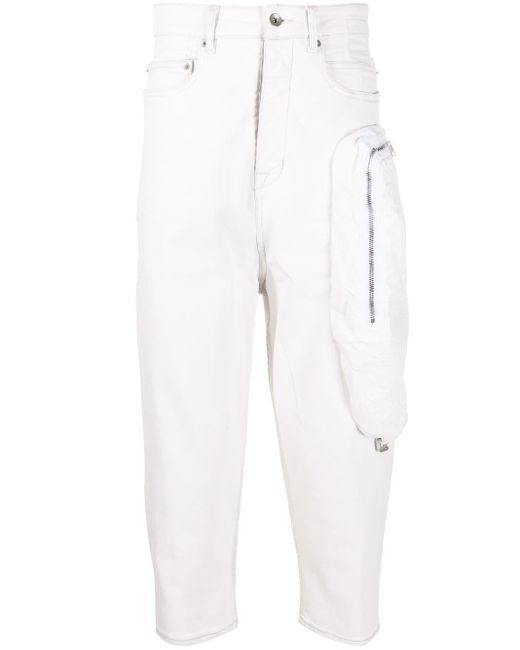 Rick Owens Drkshdw White Cropped Fit Trousers for men
