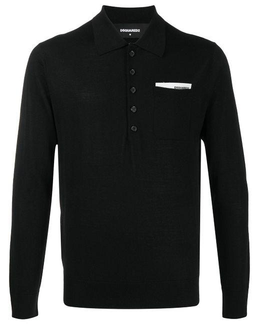 メンズ DSquared² ロゴ ポロシャツ Black
