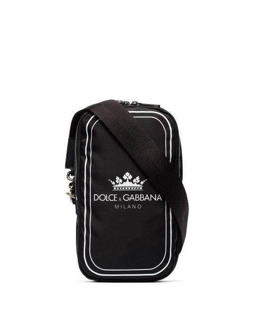 Dolce & Gabbana Black And White Crown Logo Print Cross-body Bag for men