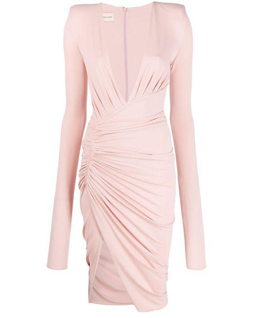 Alexandre Vauthier ドレープ Vネックドレス Pink