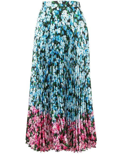 Mary Katrantzou フローラル プリーツスカート Blue