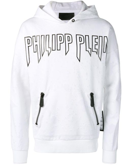 メンズ Philipp Plein ジップアップ パーカー White