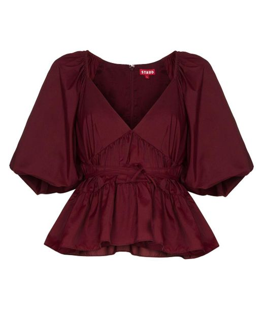 STAUD Top Lucy con peplum de mujer de color rojo js4YT
