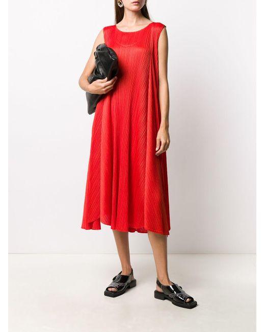 Pleats Please Issey Miyake プリーツ ドレス Red