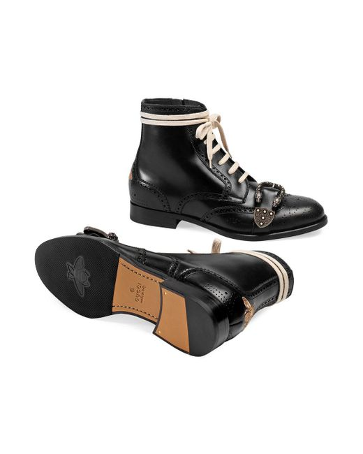 04e10799c Lyst - Gucci Queercore Brogue Boot in Black for Men - Save ...