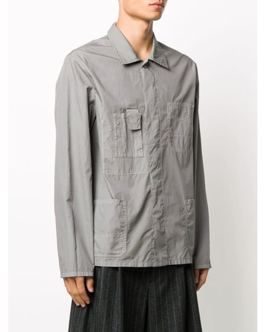 メンズ Maison Margiela コントラストステッチ シャツ Gray