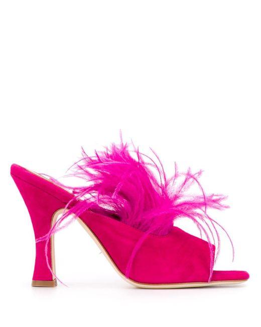 Paris Texas フェザートリム ミュール Pink