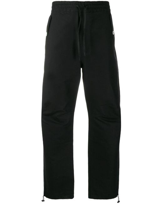 メンズ Maison Kitsuné ドローストリング ストレートパンツ Black