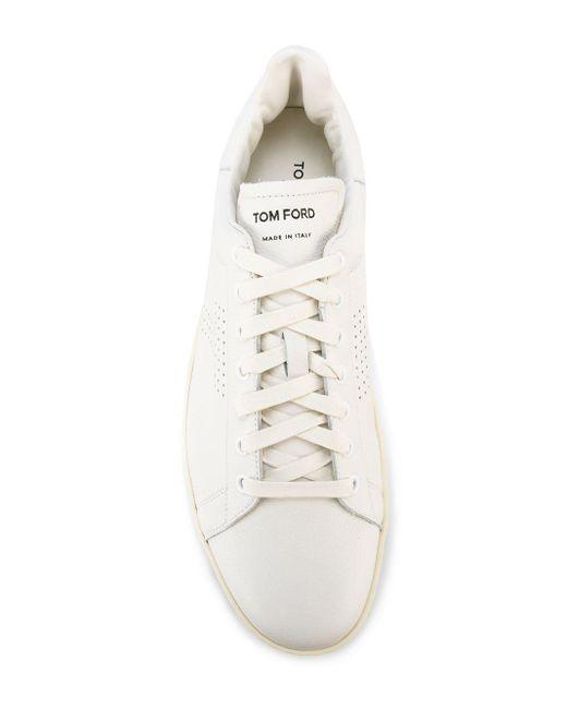 Baskets à logo perforé Tom Ford pour homme en coloris White