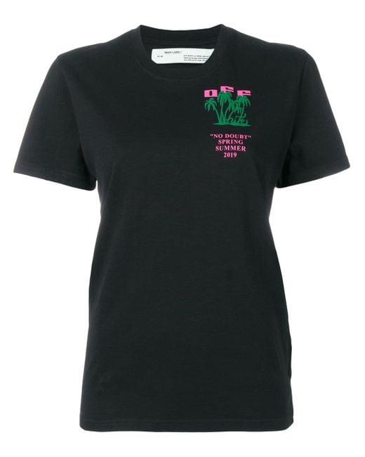 Off-White c/o Virgil Abloh Camiseta con estampado de isla de mujer de color negro NKIhV