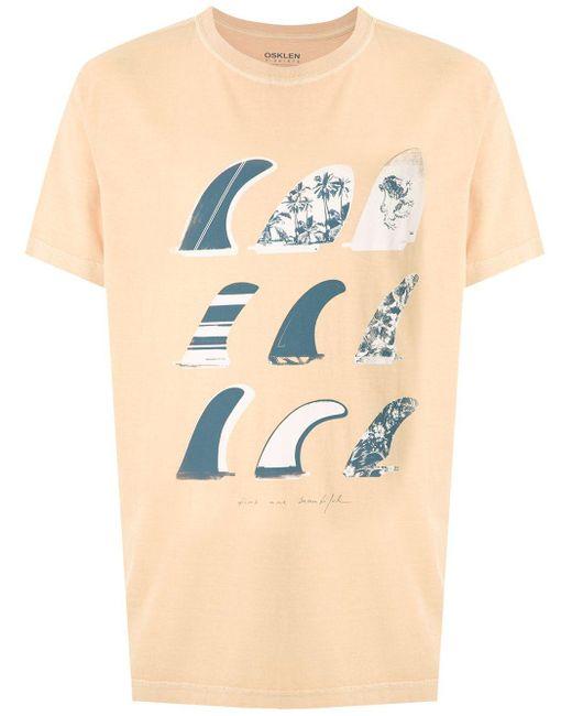 メンズ Osklen Stone Quilhas プリント Tシャツ Yellow