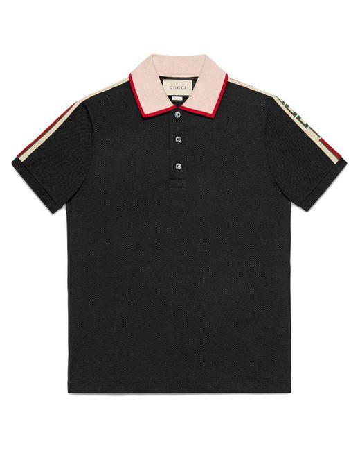 メンズ Gucci 【公式】 (グッチ)インターロッキングg ストライプ ポロシャツブラック コットンピケブラック Black
