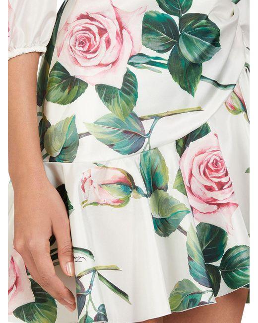 Платье С Цветочным Принтом Dolce & Gabbana, цвет: White