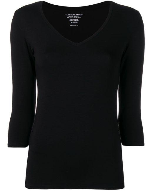 Majestic Filatures クルーネック Tシャツ Black