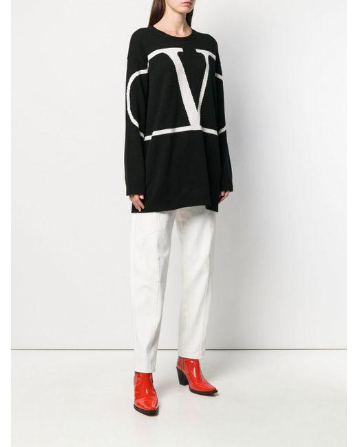 Valentino Vロゴ オーバーサイズ セーター Black