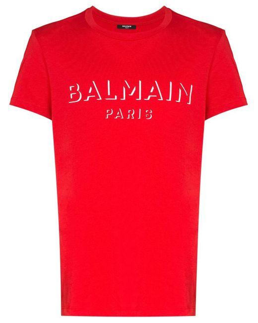 Camiseta con logo estampado Balmain de hombre de color Red