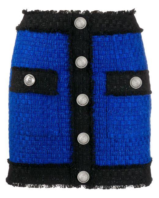 Balmain ツイード ミニスカート Blue