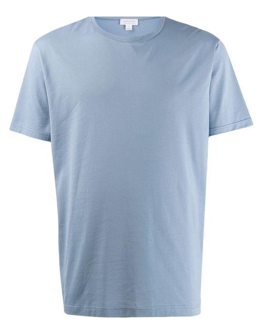 メンズ Sunspel クルーネック Tシャツ Blue