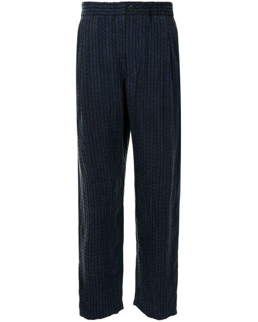 Pantalon droit à effet plissé Giorgio Armani pour homme en coloris Blue