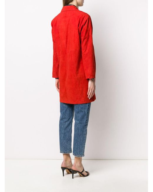 Abrigo con solapa de muesca y botones Arma de color Red