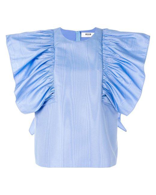 MSGM - Blue Oversized Ruffle Blouse - Lyst