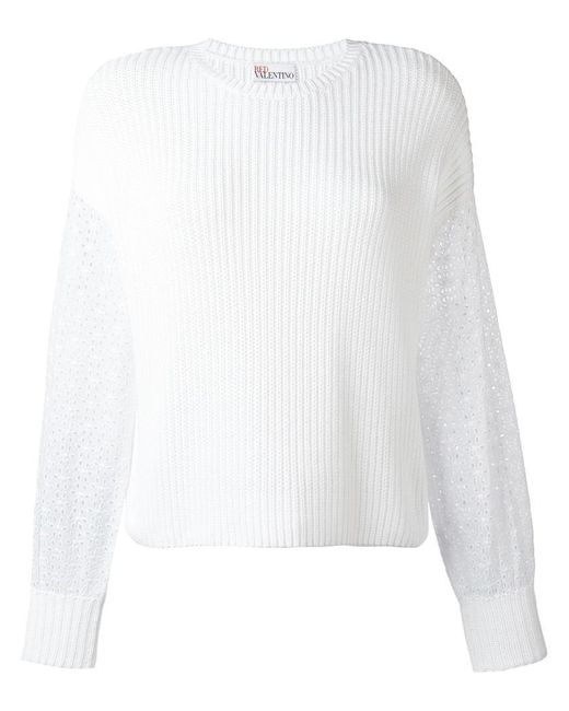 RED Valentino | White Ribbed Jumper | Lyst