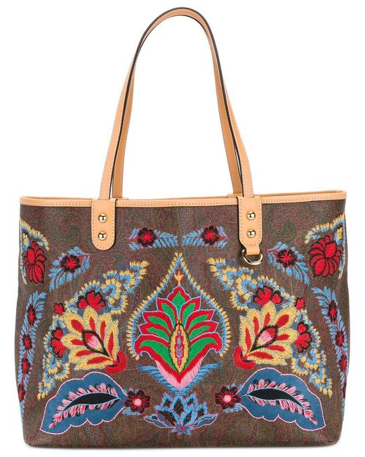 Etro - Multicolor Embroidered Tote Bag - Lyst