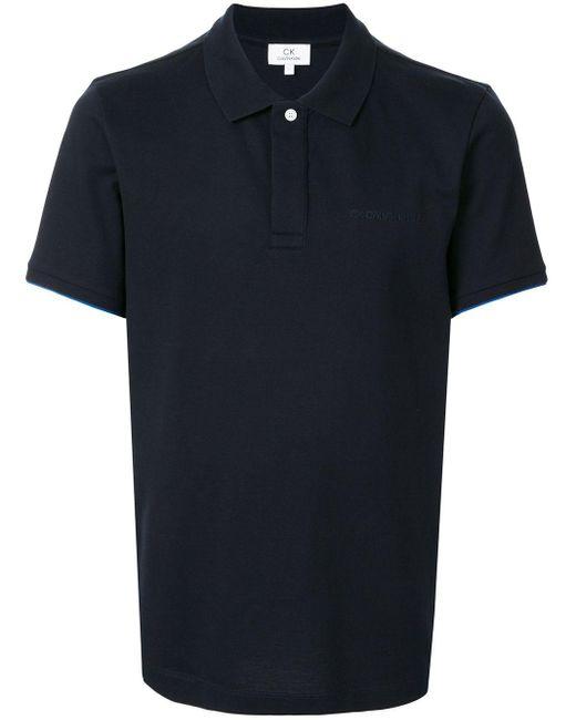 メンズ Calvin Klein ロゴ ポロシャツ Blue