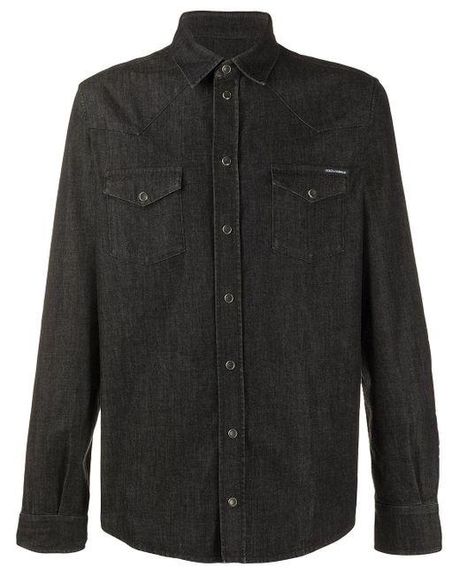 メンズ Dolce & Gabbana スナップボタン デニムシャツ Black