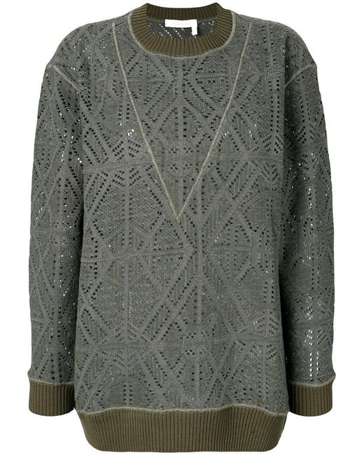 See By Chloé   Green Pointelle Oversized Sweater   Lyst