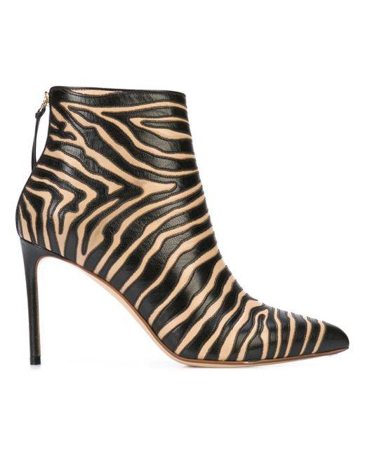 Francesco Russo Zebra Print Boots Black