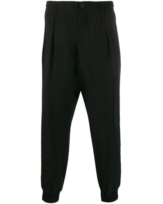 メンズ Yohji Yamamoto プリーツ クロップドパンツ Black